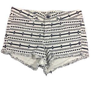 🦩3/$23   H&M NWOT White Denim Fringed Shorts